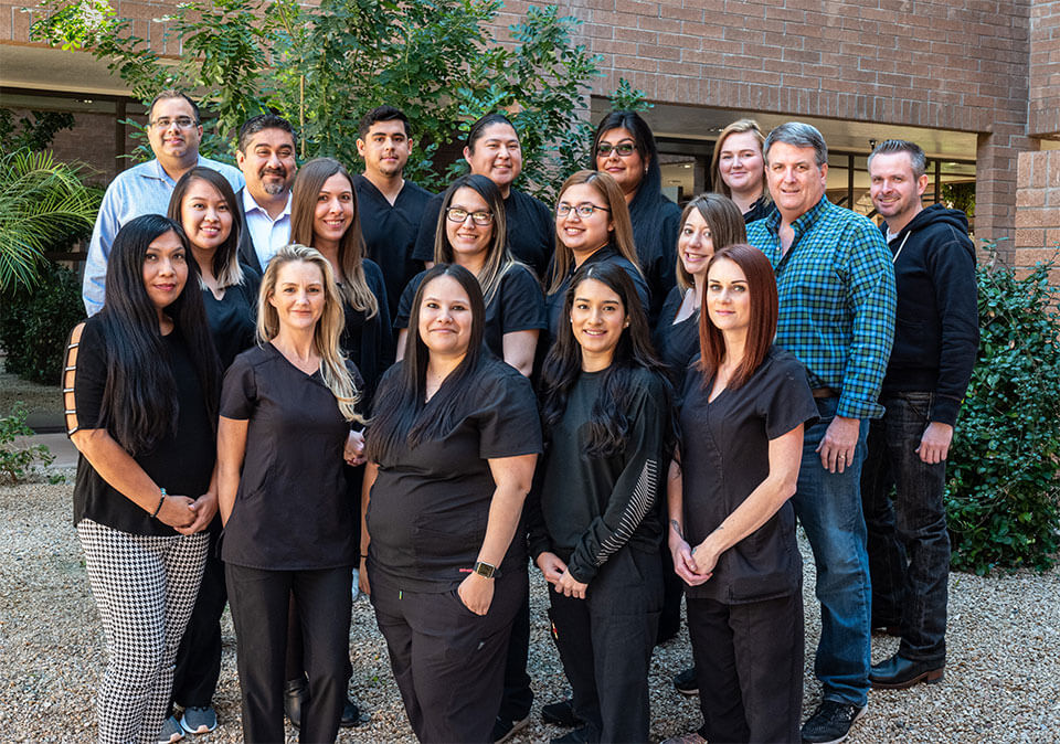 A group photo of the Scottsdale Family Health doctors and staff
